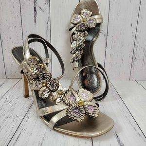 Coach Bianca Floral Embellished Sandals Heels NEW